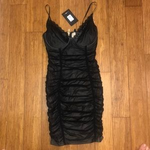 Size S Fashion Nova Dress Black Ruched NWT